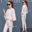 Frill-Crape Shirt With Pants Set สีชมพู thumbnail 3