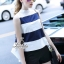 Korea Design By Lavida fashionista white & blue striped top short pants chic set thumbnail 1