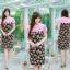 XL, 5XL ชุดเดรสสาวอวบ++ผ้า Sanfox พื้นดำ ทอลายดอกชมพู จุดเด่นของชุดนี้ตัดต่อด้านบน และแขนด้วยผ้า Hanako สีชมพู thumbnail 6