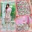 XL,3XL,5XL ชุดเดรสสาวอวบ++ผ้า Sanfox พื้นขาว ทอลายดอกชมพู จุดเด่นของชุดนี้ตัดต่อด้านบน และแขนด้วยผ้า Hanako สีชมพู thumbnail 5