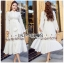 🎀 Lady Ribbon's Made 🎀 Lady Lauren Flower Embroidered White Cotton Maxi Dress thumbnail 3