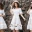 White Shoulder Dress Cutting Sewing Twist thumbnail 6