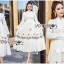 🎀 Lady Ribbon's Made 🎀 Lady Lauren Flower Embroidered White Cotton Maxi Dress thumbnail 2