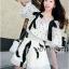 Lady Chrissy Summer Polka-Dot Ribbon Chiffon Blouse with High-Waist Shorts Set thumbnail 3