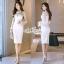 Aris Code Luxurious ribbon White Dress thumbnail 1