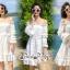 White Shoulder Dress Cutting Sewing Twist thumbnail 4