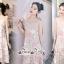 Mini Lace Dress Erin Off Shoulder Black&Cream Tulle Korea ครีมชมพู thumbnail 4