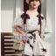 Lady Chrissy Summer Polka-Dot Ribbon Chiffon Blouse with High-Waist Shorts Set thumbnail 2