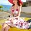 Seoul Secret Say's... Coral Pink-Red Sosy Rose Print Dress thumbnail 2