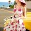 Seoul Secret Say's... Coral Pink-Red Sosy Rose Print Dress thumbnail 3