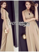เสื้อผ้าแฟชั่นเกาหลี Lady Ribbon's Made Lady Evelyn Minimal Chic Buttoned Jumpsuit