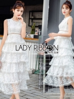 เสื้อผ้าแฟชั่นเกาหลี Lady Ribbon's Made Lady Erin Sweet Feminine Ruffle and Layered White Lace Dress