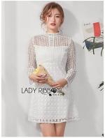 สื้อผ้าแฟชั่นเกาหลี Lady Ribbon Thailand Lady Ribbon's Made Lady Amanda Sweet Chic A-line Lace Mini Dress