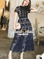 Seoul Secret Say's... Poppy Navy Lace Curve Out MaxiDress