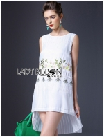 เสื้อผ้าแฟชั่นเกาหลี Lady Ribbon Thailand Lady Ribbon's Made Lady Amelia Natural Little Bee Embroidered Ruffle Chiffon Dress