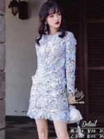เสื้อผ้าแฟชั่นเกาหลี 2Sister made, Blue Elegant Korea Premium Lace