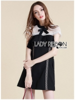 🎀 Lady Ribbon's Made 🎀Lady Sophie White Lace Crepe and black Dress