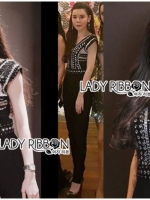 เสื้อผ้าแฟชั่นเกาหลี Lady Ribbon's Made Lady Martha Tribal Chic Crystal Embellished Black Jumpsuit