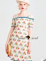 Seoul Secret Say's... Mixxy Color Leaf Sweety Netty Cream Dress
