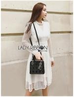 เสื้อผ้าแฟชั่นเกาหลี Lady Camilla Pure Serene White Lace Dress