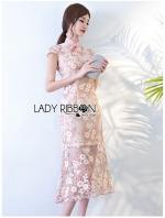 เสื้อผ้าแฟชั่นเกาหลี Lady Ribbon Thailand Lady Ribbon's Made Lady Sophia Chinoise Baby Pink Lace Dress