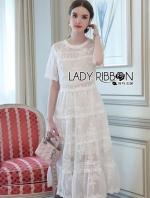 เสื้อผ้าแฟชั่นเกาหลี Lady Emily Little Princess White Lace Maxi Dress
