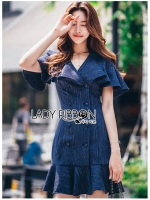 🎀 Lady Ribbon's Made 🎀 Lady Maria Double-Breasted Ruffle Suit Cotton Dress