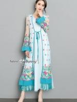 เสื้อผ้าแฟชั่นเกาหลี Sweet Bunny Present... Essential Floral Long Robe