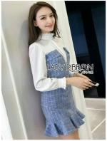 เสื้อผ้าแฟชั่นเกาหลี Lady Ida Elegant High Neck Cotton Dress