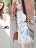 เสื้อผ้าแฟชั่นเกาหลี Lady Ribbon's Made Lady Serena Smart Feminine Embroidered Cotton Dress