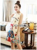 เสื้อผ้าแฟชั่นเกาหลี Lady Ribbon's Made Lady Anne Dreamy Fantasy Printed Dress