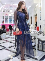 🎀 Lady Ribbon's Made 🎀 Lady Hana True Elegant Sequin Embroidered Tulle Evening Dress