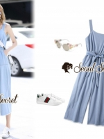 เสื้อผ้าแฟชั่นเกาหลี oul Secret Say's... Nifty Light Blue Denim Smocking Bow Playsuit