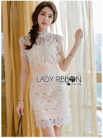 🎀 Lady Ribbon's Made 🎀 Lady Courtney Scallop Wave White Lace Dress with Beige Lining
