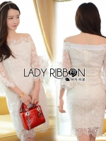 🎀 Lady Ribbon's Made 🎀 Lady Leslie Pure Feminine Off-Shoulder White Lace Dress with
