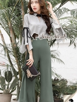 Seoul Secret Say's... Juniper Green Pants Bowwy Tie Bell Sleeve Set