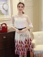 เสื้อผ้าแฟชั่นเกาหลี 2Sister Made, Wite & Red Unity Elegant Lady Beauty Set