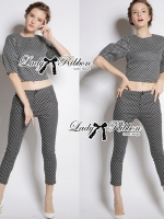 &#x1F380 Lady Ribbon's Made &#x1F380 Lady Clara Polka Dot Zip-Up Jacket and Pants Set