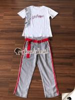 เสื้อผ้าแฟชั่นเกาหลี Seoul Secret Say's...Lace Gray Printed Stripes Shirt Set