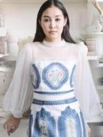เสื้อผ้าแฟชั่นเกาหลี Lady Nora Modern Vintage Printed Tulle and Crepe Dress