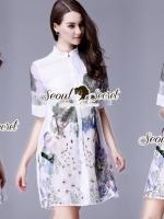 Seoul Secret Say's... Luxy Peafow color Embroider Dress