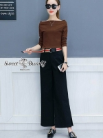 เสื้อผ้าแฟชั่นเกาหลี Sweet Bunny Present... Wide Rib Bardot Top And Trousers Set With Belt