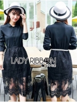 เสื้อผ้าแฟชั่นเกาหลี Lady Ribbon's Made Lady Charlie Sweet Minimal Chic Insert Lace Shirt Dress
