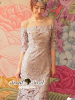 Seoul Secret Say's... Vintly Coral Blue Lace Dress