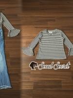 เสื้อผ้าแฟชั่นเกาหลี Seoul Secret Say's... Bibby Denim Striped Bell Tie Sleeves Set