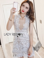 🎀 Lady Ribbon's Made 🎀Lady Anna Feminine Sexy White Lace Dress with Beige Linings