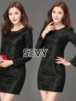 เสื้อผ้าแฟชั่นเกาหลี Sevy Round Neck Long Sleeve Lace Classic Mini Dress