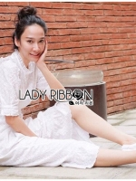 เสื้อผ้าแฟชั่นเกาหลี Lady Ribbon Thailand Lady Clemence Ruffle Embroidered White Cotton Dress