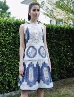 เสื้อผ้าแฟชั่นเกาหลี Lady Ribbon Thailand Lady Madison Modern Vintage Printed Lace and Crepe Dress
