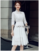 เสื้อผ้าแฟชั่นเกาหลี Lady Ribbon Thailand Lady Ribbon's Made Lady Maleeya Laser-Cut and Embroidered White Cotton